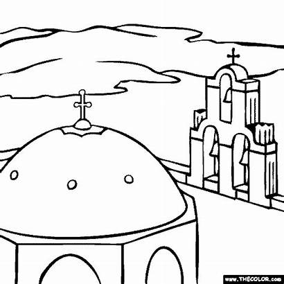 Coloring Church Places Famous Domed Greece Pages