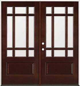 Finer doors 9 lite mahogany prehung double wood door for 32 inch double doors
