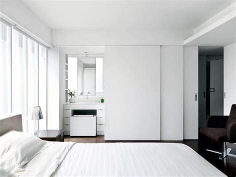Dark Brown Living Room Ideas by Bedroom With Bathroom Behind The Sliding Doors Interior