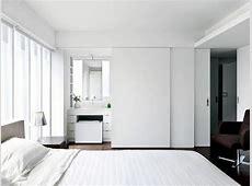 Bedroom with bathroom behind the sliding doors Interior
