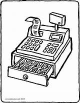 Money Cash Register Colouring Drawing Kiddicolour 01v sketch template