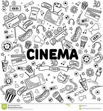 Cinema Illustration Line Vector Doodle