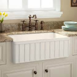 """30"""" Oldham Fireclay Farmhouse Sink - Fluted Apron - Biscuit"""