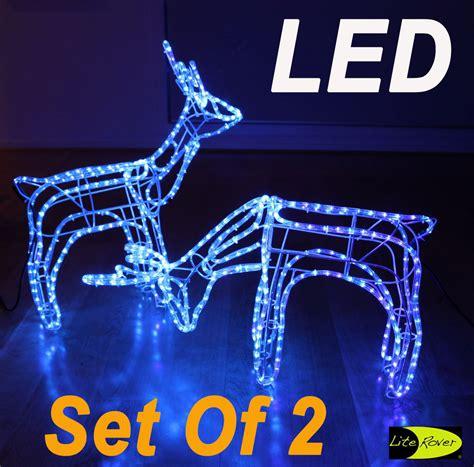 rope lighted christmas deer set of 2 3d led reindeer motif deer rope light lights blue ebay