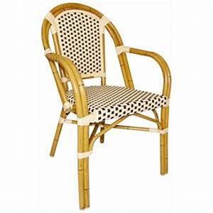 Fauteuil Exterieur Osier : fauteuil bistro rotin empilable marron et cr me mat resto ~ Premium-room.com Idées de Décoration