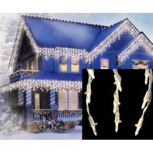 set of 105 warm white led cascading mini icicle christmas lights white wire walmart com