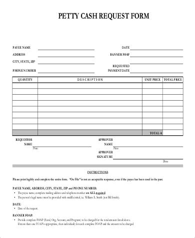 sample petty cash request forms  ms word