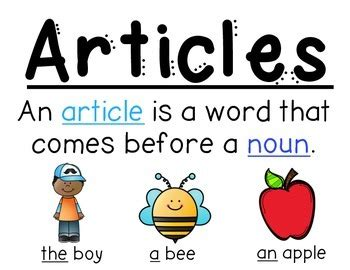 Articles Anchor Chart (the, A, An) By Fabulous 1st Grade Tpt