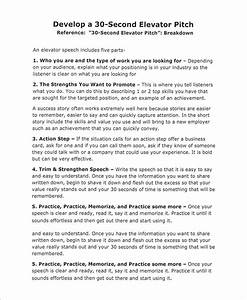 sample elevator pitch example 10 documents in word pdf With 30 second pitch template