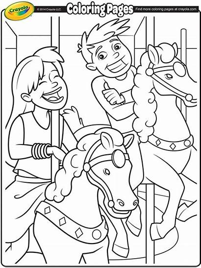 Coloring Carousel Crayola Horses Pages Fair Fun