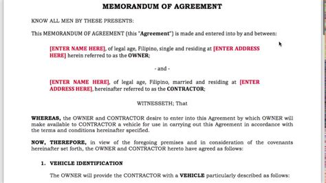 Grab/uber Driver Contract Template For Ph Drivers [2017