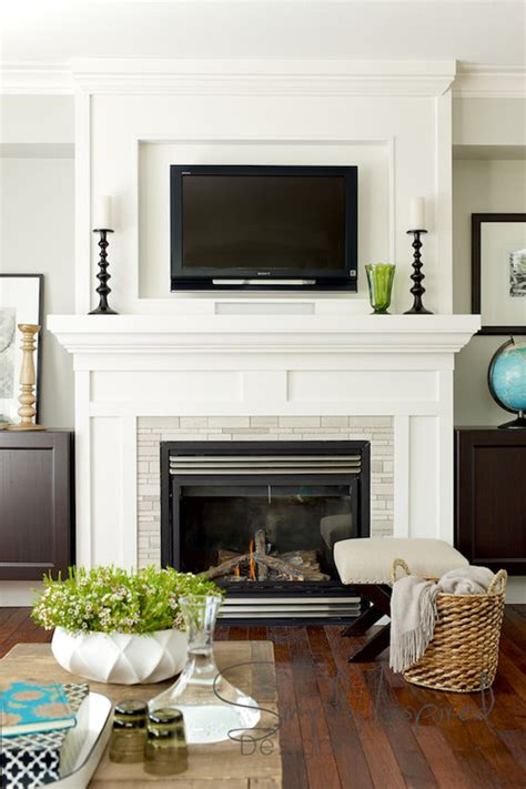 decorating fireplace mantel with tv above hanging your tv the fireplace yea or nay driven