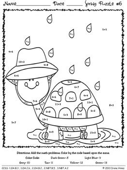 color  number spring addition math puzzles sum spring showers