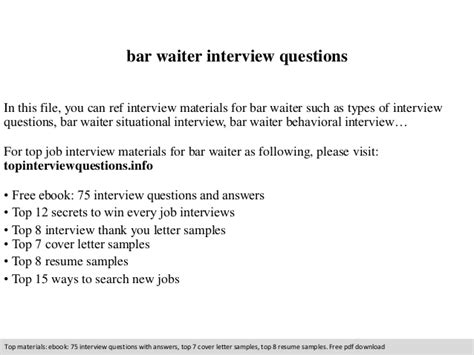 questions and answers waitres bar waiter questions