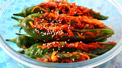 green cuisine spicy stuffed green chili pepper kimchi gochu sobagi 고추