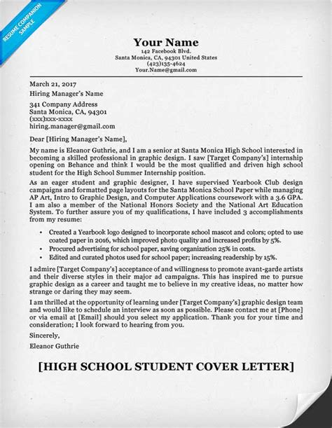 School Cover Letter by High School Student Cover Letter Sle Guide