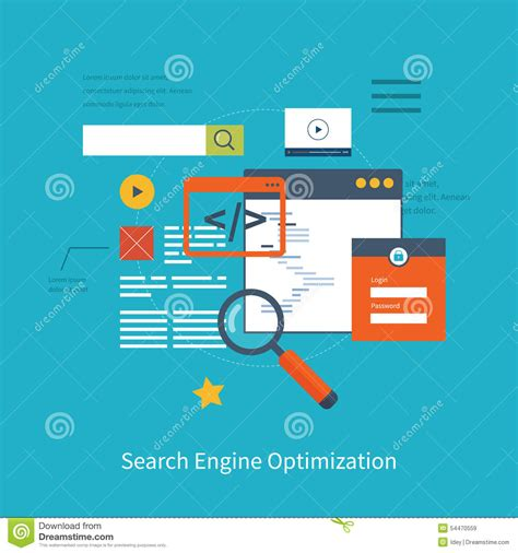 Web Search Engine Optimization by Seo Icons Stock Vector Image 54470559