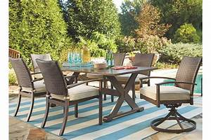 moresdale 7 piece outdoor rectangular dining set ashley With homestore and more outdoor furniture