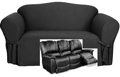 Black Slipcover For Loveseat by Dual Reclining Sofa Slipcover Black Cotton Sure Fit