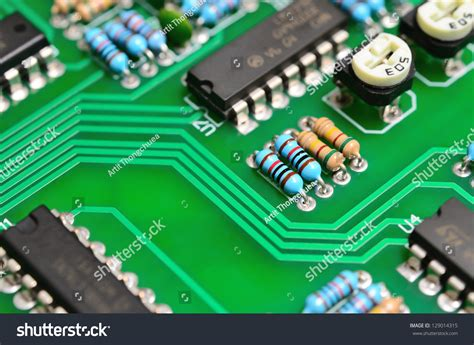 Detail Electronic Printed Circuit Board Many Stock Photo