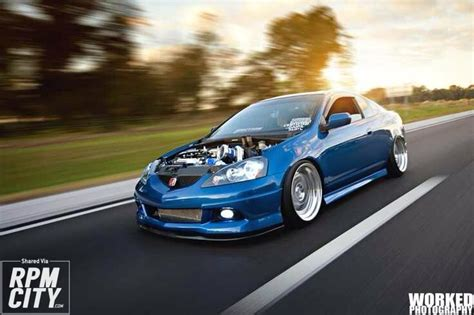 blue acura rsx hoodless rpm city