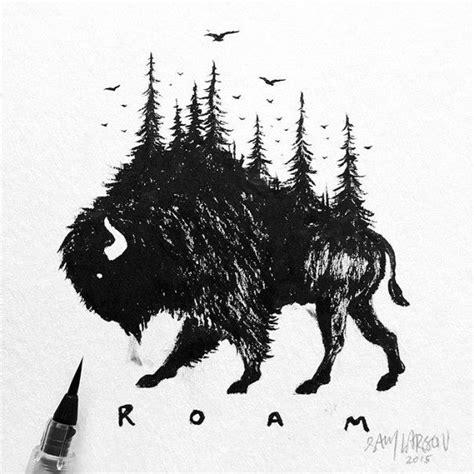 black white animal landscape hybrid drawings sam larson