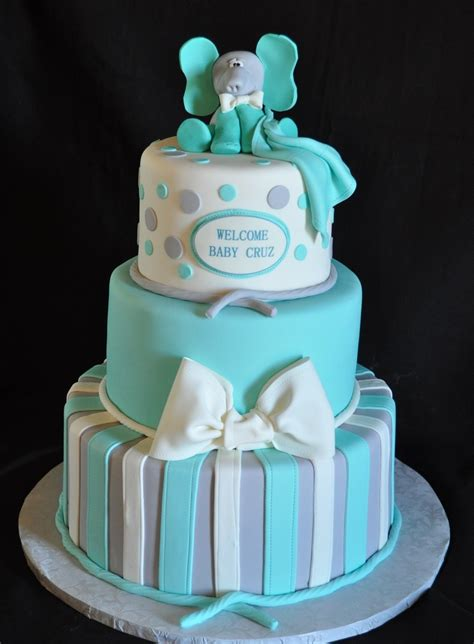 teal  gray baby shower cake cakecentralcom