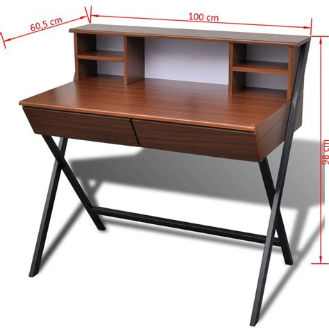 brown desk with drawers brown workstation computer desk with 2 drawers vidaxl co uk