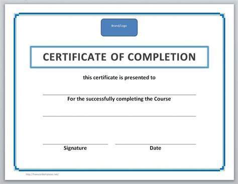 Certificate Of Completion Template 13 Free Certificate Templates For Word Microsoft And