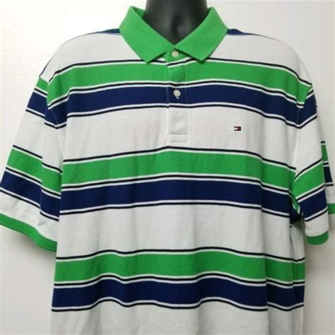 Tommy-Hilfiger-Mens-Green-Blue-and-White-Striped-Polo ...