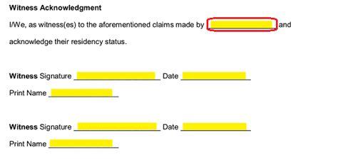 family member proof  residency letter  word