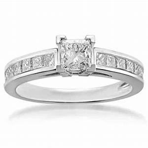 Platinum princess cut diamond engagement rings wedding for Platinum princess cut wedding rings
