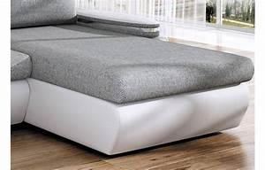 Canape Gris Et Blanc : canap d 39 angle convertible gris et blanc en tissu et simili cuir ~ Melissatoandfro.com Idées de Décoration