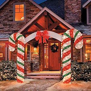 Candy Cane Bow Arch Clear Lights Stake Christmas