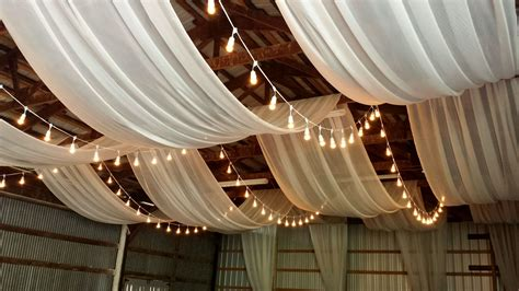 Celing Drapes - ceiling draping in a barn this makes a rustic wedding