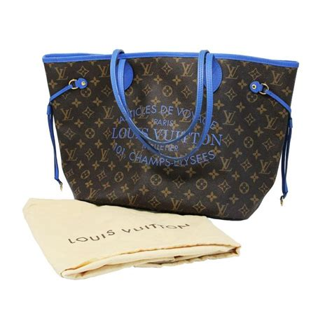 louis vuitton neverfull mm blue voyage tote limited edition  dust bag  stdibs