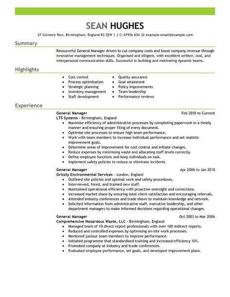 Manager Resume by Best General Manager Resume Exle Livecareer