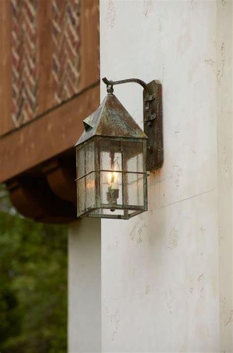 story tudor style exterior lighting project brass light