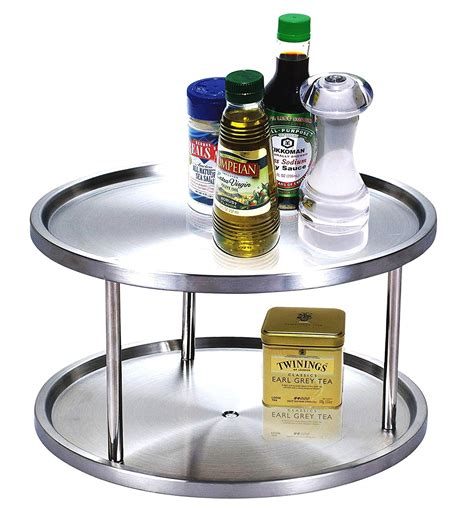 Two Tier Lazy Susan Spice Rack by 10 1 2 Inch 2 Tier Lazy Susan 360 Turn Table Organize