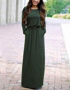 robe longue pas cher verte foncee hiver avec manches With robe manche longue hiver pas cher