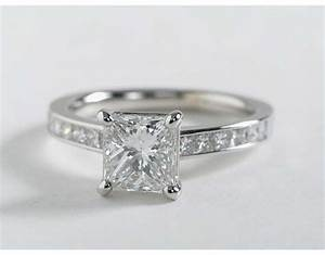 princess cut channel set diamond engagement ring in 14k With 14k white gold diamond wedding ring