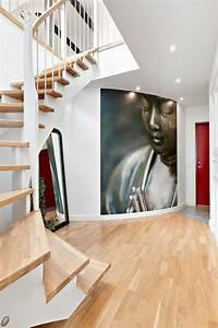 revetement mural couloir dootdadoocom idees de With couleur de peinture pour une entree 2 un couloir style retro dans lentree avec console cache