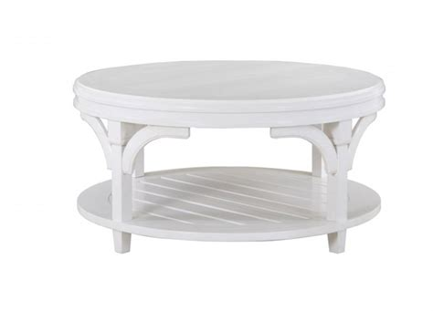 Coastal style coffee tables are usually made from natural wood that's either finished to show off the grain or painted in light, neutral colors. Boathouse Coastal/Cottage White Wood Round Cocktail Table w/Casters   The Classy Home