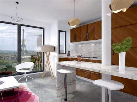 chambre vue tour eiffel aménagement chic marbre de carrare mosaïque placage bois