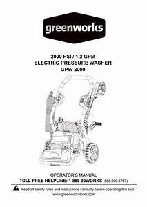 2000 Psi    1 2 Gpm Electric Pressure Washer Gpw 2000