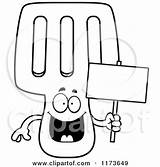 Spatula Coloring Clipart Cartoon Vector Mascot Holding Happy Sign Cory Thoman Outlined 2021 Template sketch template