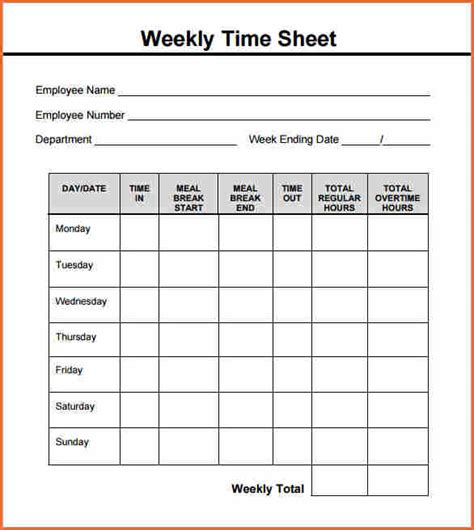 5 Weekly Timesheet Template Budget Template Letter