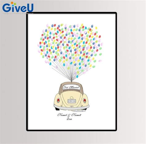 giveu personalized wedding car diy fingerprint painting