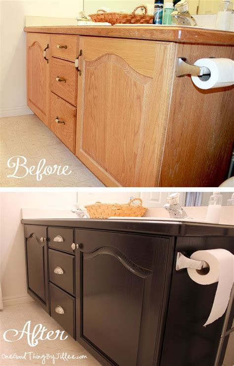 Diy Bathroom Cabinet Makeover by Oak Cabinet Makeovers On General Finishes