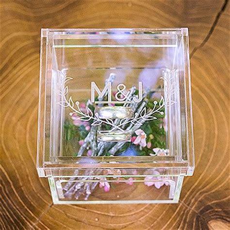 acrylic wedding ring box woodland pretty etching the knot shop